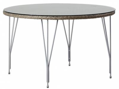 Sika Design AVANTGARDE Jupiter Gartentisch Ø 120 cm, inkl.Glasplatte - Taupe