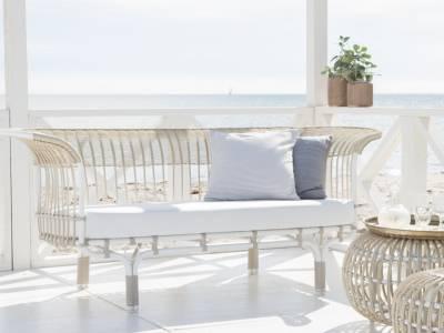 Sika Design EXTERIOR Belladonna Couch, Alurattan, Mocaccino, inkl. Kissen - Design by Franco Albini