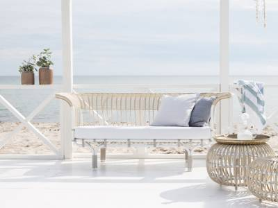 Sika Design EXTERIOR Belladonna Couch, Alurattan,Dove White, inkl. Kissen - Design by Franco Albini