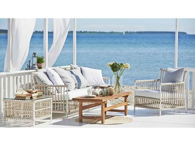 Sika Design EXTERIOR Caroline 3-Sitzer Sofa, Dove white, inkl. Kissen, Alurattan