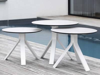 Stern Beistelltisch Freddie Ø 55 cm Aluminium weiß mit Tischplatte Silverstar 2.0 Dekor Zement hell