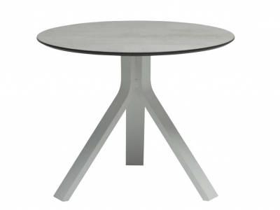 Stern Beistelltisch Freddie Ø 60 cm Aluminium weiß mit Tischplatte Silverstar 2.0 Dekor Zement hell