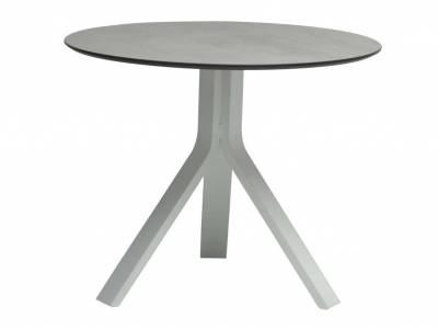 Stern Beistelltisch Freddie Ø 65 cm Aluminium weiß mit Tischplatte Silverstar 2.0 Dekor Zement hell