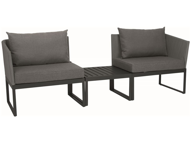 Stern DONNA City-Lounge, Aluminium anthrazit mit Bezug silber
