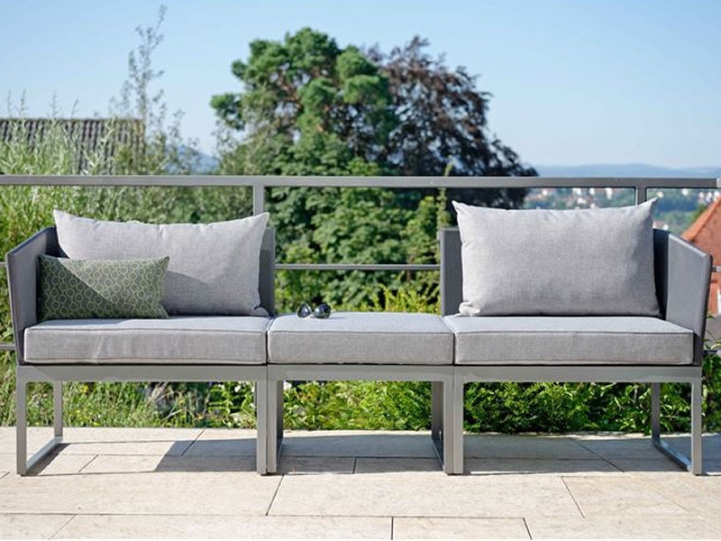 Stern DONNA City-Lounge, Aluminium graphit mit Bezug silbergrau