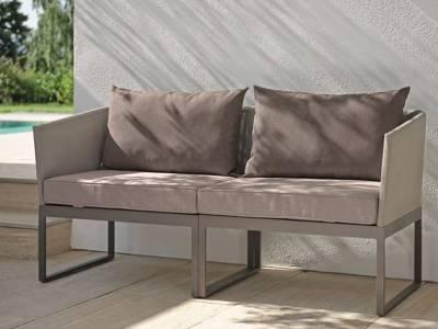 Stern DONNA City-Lounge Aluminium taupe mit Bezug kieselgrau