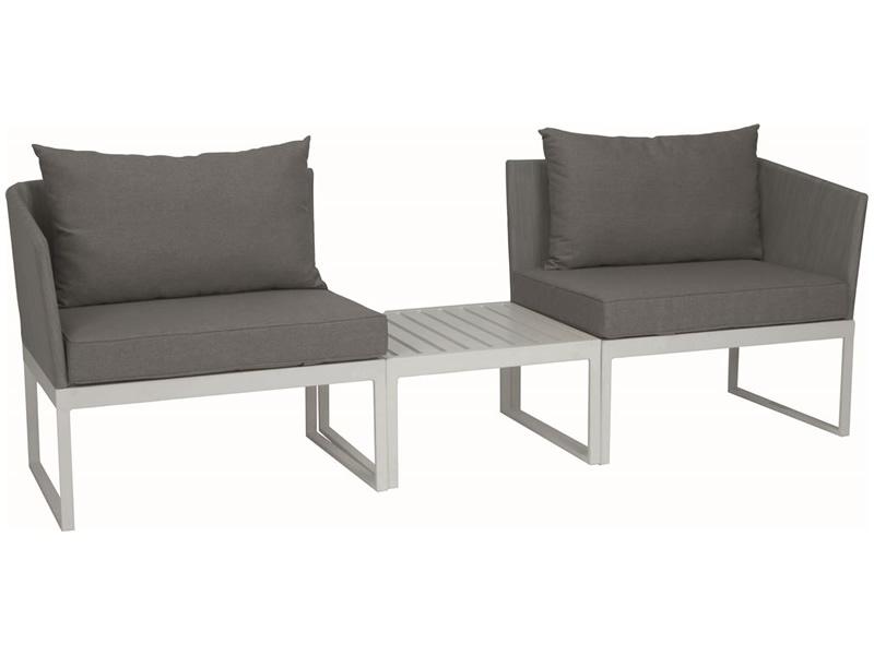 Stern DONNA City-Lounge Aluminium weiß mit Bezug silber ...