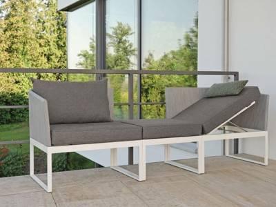 Stern DONNA City-Lounge Aluminium weiß mit Bezug silber