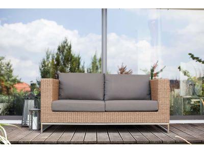 Stern FONTANA 2-Sitzer Sofa, zimt inkl. Untergestell in Edelstahl