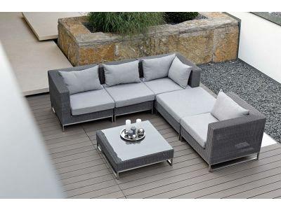 Stern FONTANA 3-Sitzer Sofa, basaltgrau inkl. Untergestell in Edelstahl