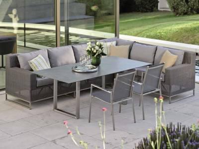 Stern Fontana Dining 2-Sitzer Sofa, basaltgrau inkl. Untergestell in Edelstahl