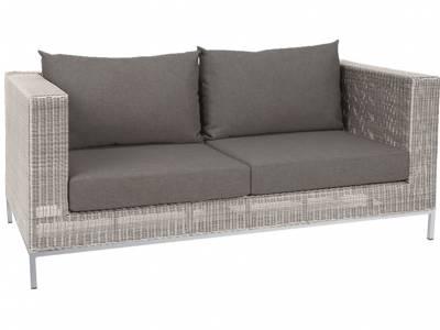 Stern Fontana Dining 2-Sitzer Sofa, Vintage weiß inkl. Untergestell in Aluminium weiß