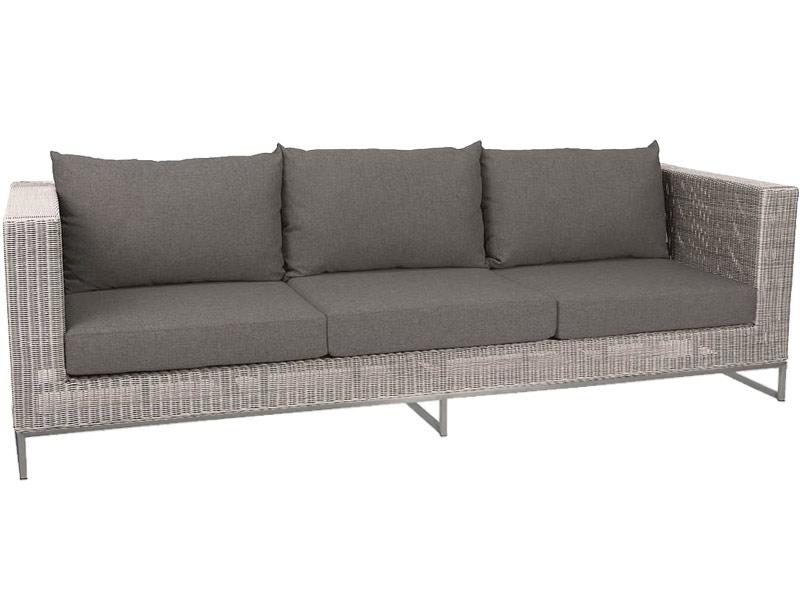 Stern Fontana Dining 3-Sitzer Sofa, Vintage weiß inkl. Untergestell in Aluminium weiß