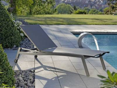 Stern Rollenliege Allround Aluminium anthrazit mit Bezug Textilen karbon