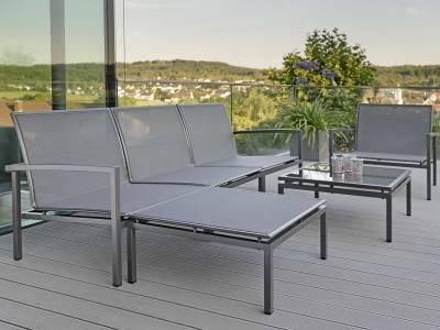 Stern Skelby Lounge-Mittelelement anthrazit mit Textilenbezug karbon