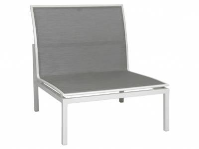 Stern Skelby Lounge-Mittelelement weiß mit Textilenbezug silber