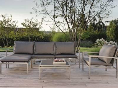 Stern Skelby Lounge-Seitenelement graphit mit Textilenbezug silbergrau