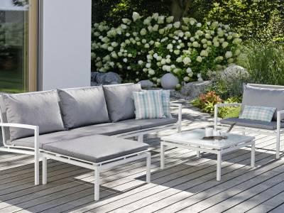 Stern Skelby Lounge-Seitenelement weiß mit Textilenbezug silber