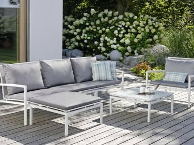 Stern Skelby Lounge-Sessel weiß mit Textilenbezug silber