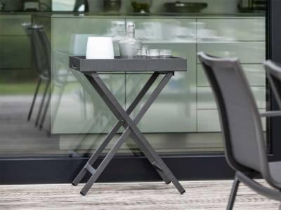 Stern Tabletttisch Aluminium anthrazit mit Tablett ca. 60x40x7 cm