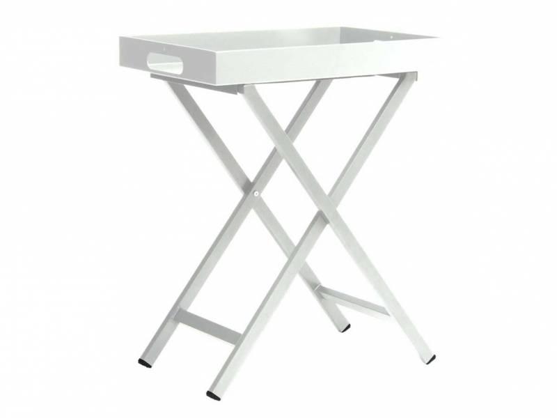 Stern Tabletttisch Aluminium weiß mit Tablett ca. 60x40x7 cm