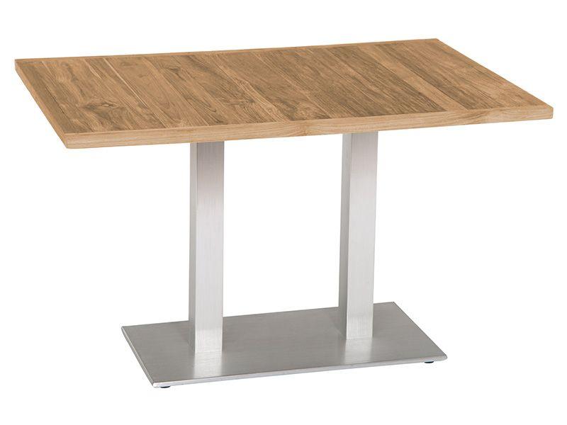 Stern Tisch, Aluminium Edelstahloptik, 130x80cm, old Teak