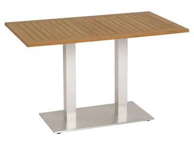 Stern Tisch, Aluminium, Edelstahloptik mit Bambusplatte