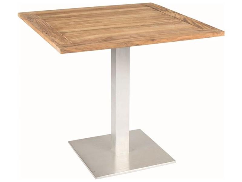 Stern Tisch, Aluminium Edelstahloptik mit Old Teakplatte 80x80 cm