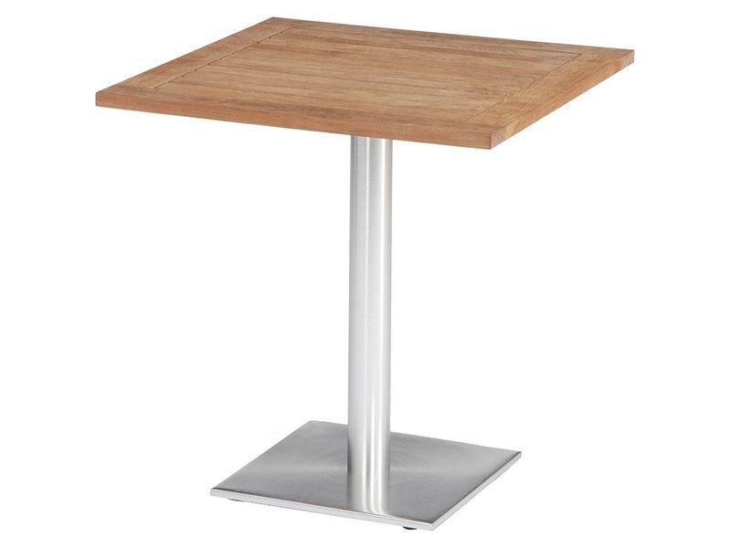 Stern Tisch, Aluminium Edelstahloptik mit Teakplatte