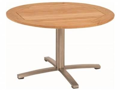 Stern Tisch Ø 120 cm Edelstahl, Teakplatte