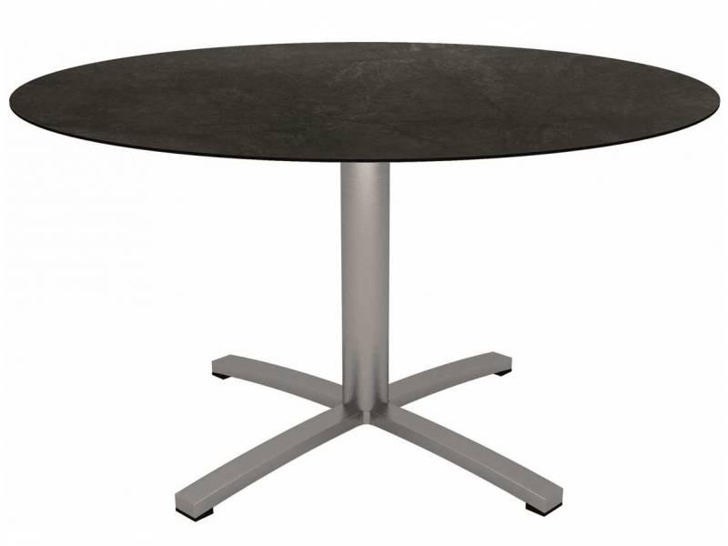 Stern Tisch Ø 134 cm Edelstahl mit Tischplatte Silverstar 2.0 Dark Marble