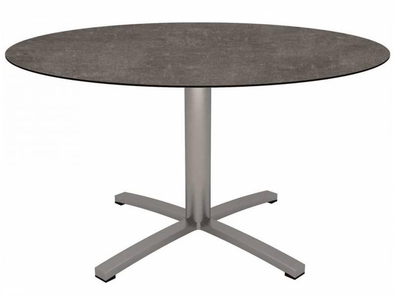 Stern Tisch Ø 134 cm Edelstahl mit Tischplatte Silverstar 2.0 Metallic grau