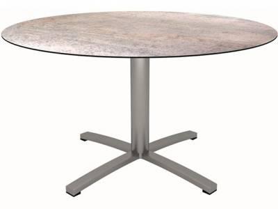 Stern Tisch Ø 134 cm Edelstahl mit Tischplatte Silverstar 2.0 Smoky