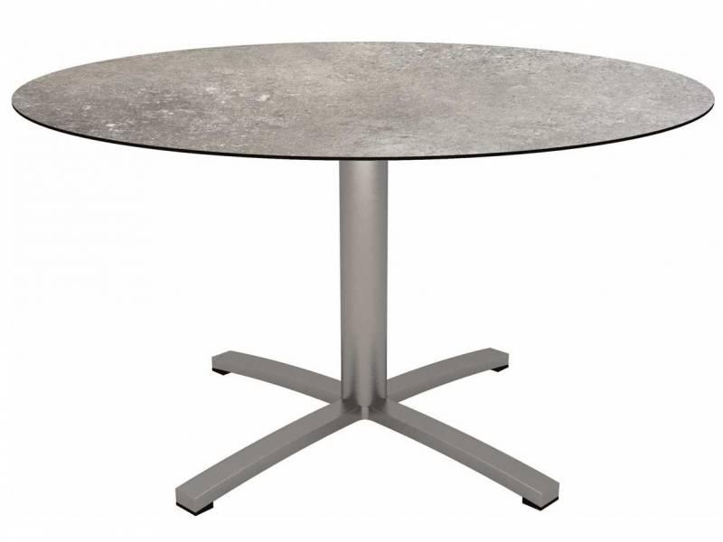 Stern Tisch Ø 134 cm Edelstahl mit Tischplatte Silverstar 2.0 Vintage stone