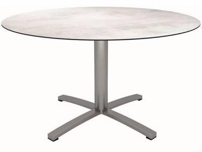 Stern Tisch Ø 134 cm Edelstahl, Zement hell
