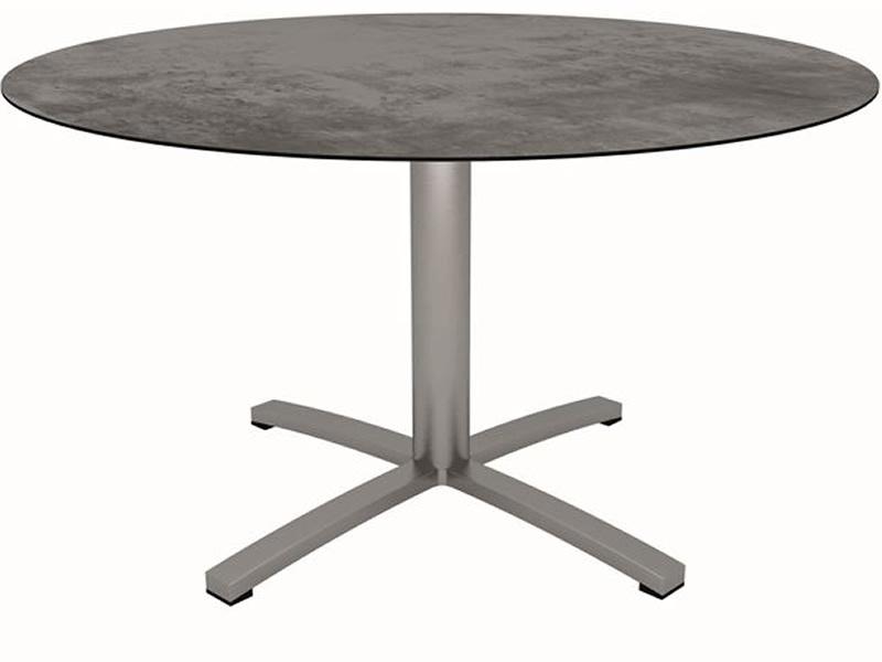 Stern Tisch Ø 134 cm Gestell Edelstahl, Tischplatte Zement