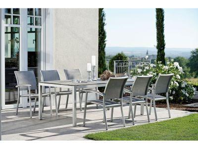 Stern Tischsystem: Alu Tischgestell 250 x 100 cm graphit + freiwählbare Tischplatte