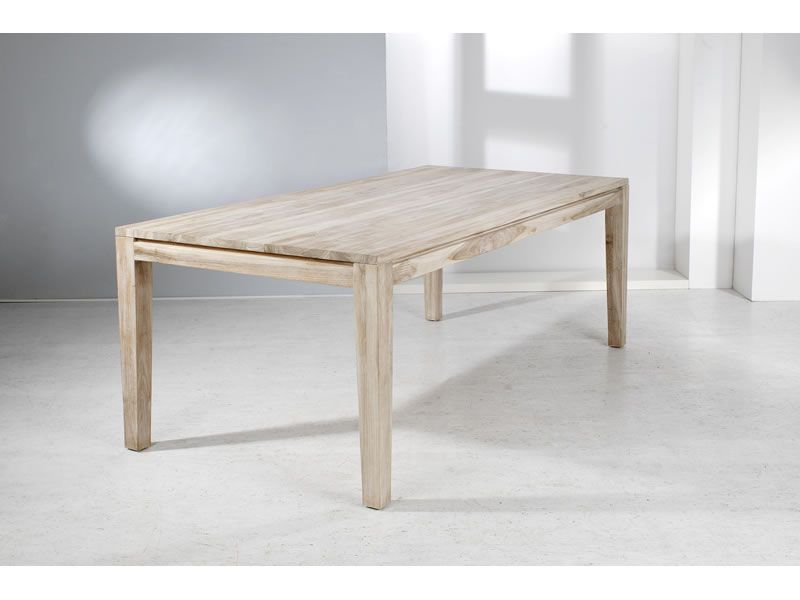 """Welzel Teakholz-Tisch """"Panama"""", weiß gewaschen - 80 x 80 cm"""
