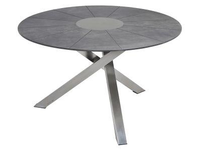 ZEBRA Oryx Tisch rund, Dreibein, SELA-Platte beton dunkel
